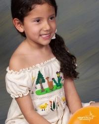 Vestido infantil en 100% algodon natural con mangas cortas