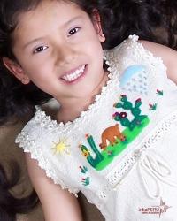 Vestido infantil en 100% algodon natural