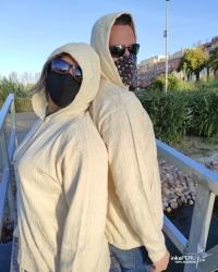 Chaqueta con capucha en 100% algodón natural - UNISEX