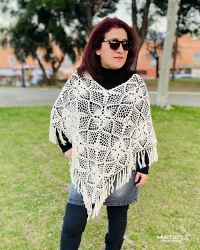 Hand knit poncho - 100% natural cotton