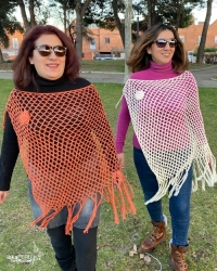Butterfly Poncho handwoven - 100% natural cotton